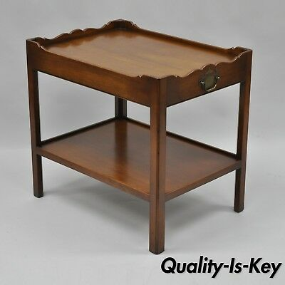 Vtg Henredon Mahogany Wood Chippendale Style Lamp Side End Table 2 Tier Butlers