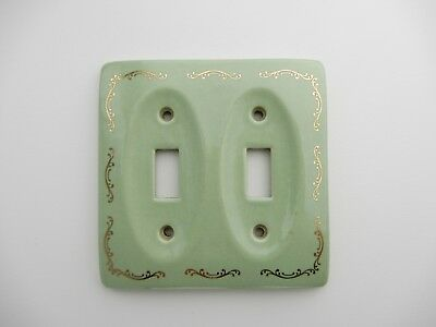 Vintage Green Gold Porcelain Ceramic Wall Light Double Switch Plate Cover