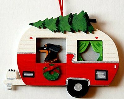 Black Dachshund Dog Vintage Camper Wood Hand-painted 3-D Christmas Ornament  USA
