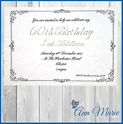 10 X 60th BIRTHDAY PARTY INVITATION CARDS INVITES WITH ENVELOPES