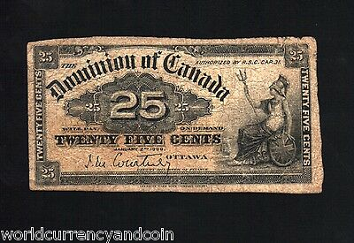 Canada 25 Cents Dc24 1900 Dominion Of Canada Scarce Bill World Currency Banknote