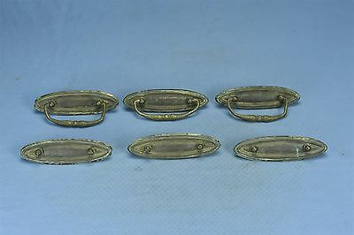 Antique SET 6 OVAL HEPPLEWHITE PRESSED BRASS DRAWER HANDLE PULL HARDWARE #03610