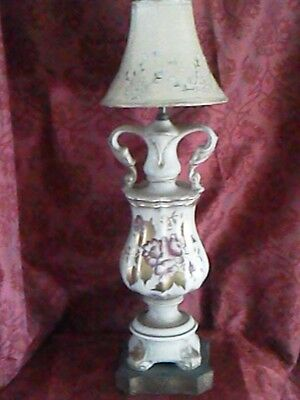 VINTAGE Antique Gold Floral Paint Ceramic Ornate Brass Lamp incl Embroider Shade