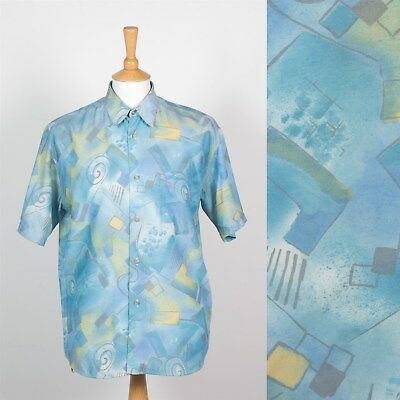 MENS VINTAGE 90s BLUE SHORT SLEEVE SHIRT CRAZY ABSTRACT PATTERN NINETIES WAVEY L