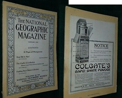 NATIONAL GEOGRAPHIC Magazine- FEB 1916 - HOW OLD IS MAN? -Great ADS -FreeShip