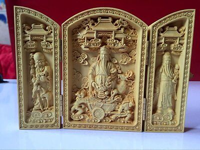 Wood carving handicraft fu lu shou samsung Buddha collection of ornaments