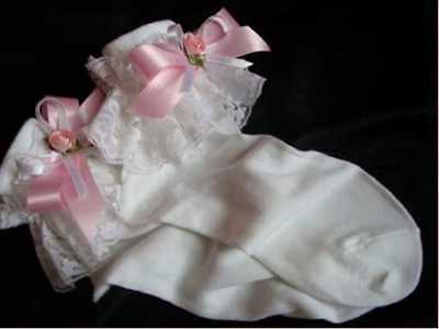 Adult baby/sissy/maid/school girl lace and ribbon trimmed ankle socks. 6-11