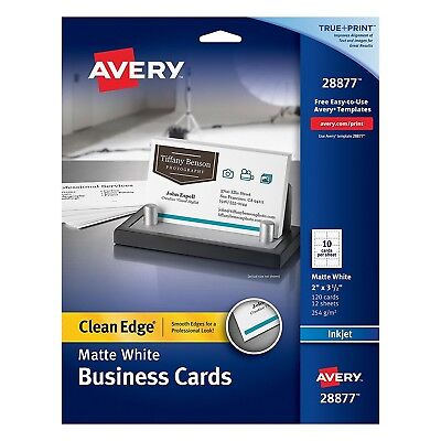 Avery 28877 Two-Side Printable Clean Edge Business Cards for Inkjet Printers