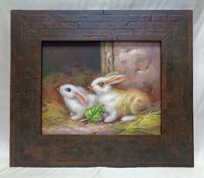 Pair of Cute Bunnies in Barn Oil Painting in Inlaid Wooden Vintage Style Frame