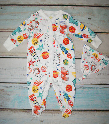 Next BNWT Baby Boys Patterned Sleepsuit & Matching Hat Set Size 3-6 Months