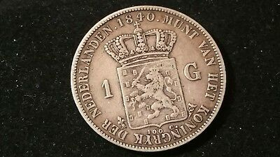 1840 . Netherlands . Gulden . KEY DATE . Low Mint only 99k . VF - XF