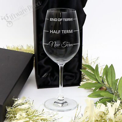Engraved Wine Glass in Gift Box Teacher New Term End of Term Christmas present