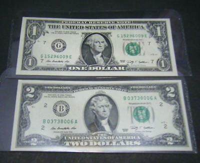 $1 and $2 Uncirculated US Dollar BankNote the Federal Reserve Bank Currency Bill