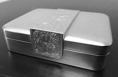 "Sterling Silver Cigarette Box Deco Style, Circa 1930""s, Lined in Walnut Burlwood"