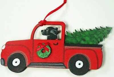Black Labrador Retriever Dog  Red Truck Wood Hand-painted  Christmas Ornament
