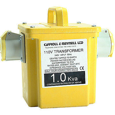 Carroll & Meynell 1Kva 240v to 110v Step Down Transformer with 2 16amp Sockets