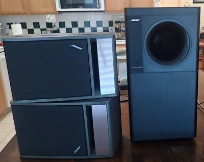 bose 141. bose acoustimass 7 subwoofer with a pair of ( bose 141 grey bookshelf speakers )