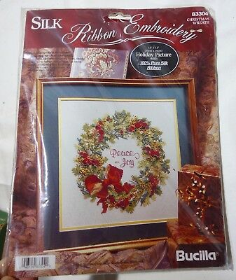"New 12""x12"" Bucilla Ribbon Embroidery Peace & Joy Christmas Wreath"