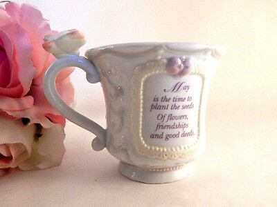 Tea Cup Coffee Mug May Birth Month Gift Precious Moments Girl Butterfly VTG 1994