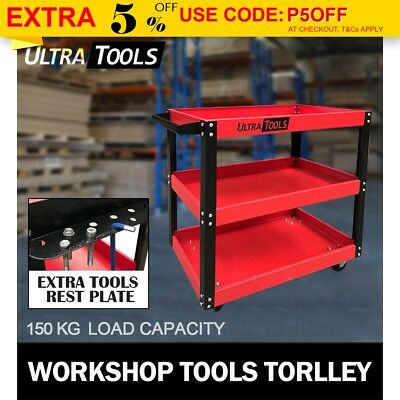 Heavy Duty Tool Cart Trolley 3 Tier Mechanic Handyman 150KG Warehouse Red