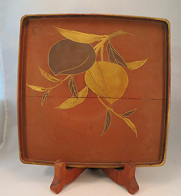 Antique Japanese Makie Lacquer Wood Tray Table Stand Gold Peaches Japan (EL)