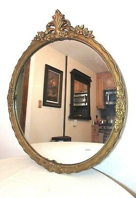 antique ornate Victorian style carved gilded gilt wood circular frame mirror