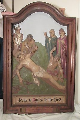 HUGE antique hand carved religious stations cross Church wood wall sculpture God