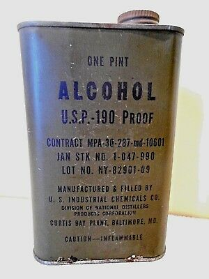 Vintage US Military Metal Pint Container USP Alcohol 190 Proof Empty WWII? Nice!