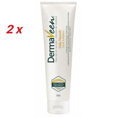 2 x DERMAVEEN DAILY NOURISH FACIAL EXFOLIATOR 150ml sensitive skin
