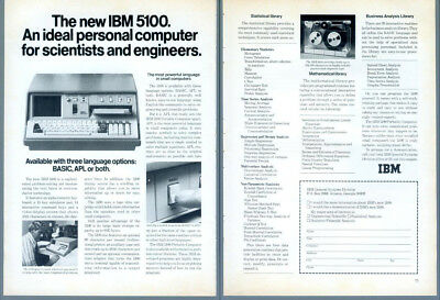 1976 IBM 5100 Portable Personal Computer BASIC APL Scientists Vintage Print Ad