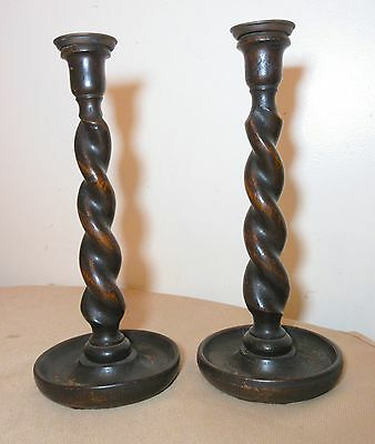 pair of antique 1800's hand carved swirled wood brass candlestick candle holders