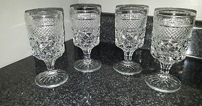 Vintage Lot of 4 Clear Diamond Cut Crystal Pressed Glass Footed Goblets