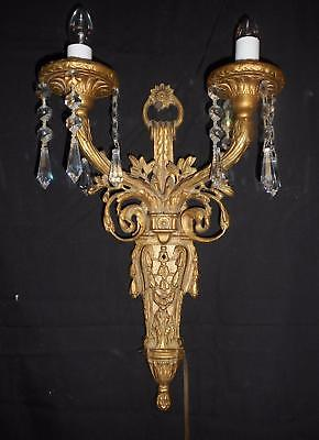 Rare & Unusual Pair (2) Antique Brass/Bronze Wall Sconces-2 Lights w/Prisms -13""