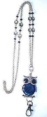 Blue Crystal Owl & Silver Flower Beaded Lanyard Necklace / ID Badge Cruise Card