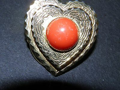gold  tone heart with orange cabachon scatter pin scarf clip