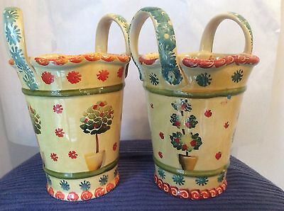 Pair 2 Italica ARS Pottery 2 Handled Baskets, Vases, Urns - Hand Painted ItalyI1