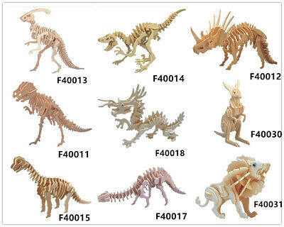 Childs Assembly DIY Education Toy 3D Wooden Mold Puzzles Of Dinosaur Kangaroo