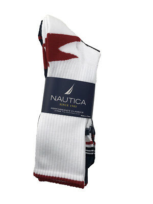 3 Pairs Nautica Mens Crew Sports Socks 10-13 Shoe Size 6-12 Gray Navy White