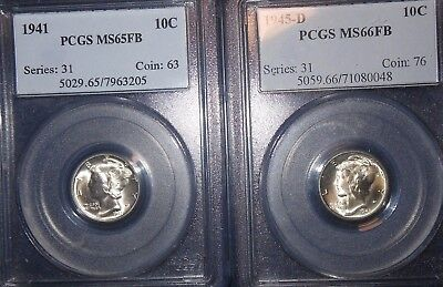 Mixed 1941 10C Mercury Dime Lot PCGS MS65FB and 1945-d PCGS MS66FB  ~FULL BANDS~