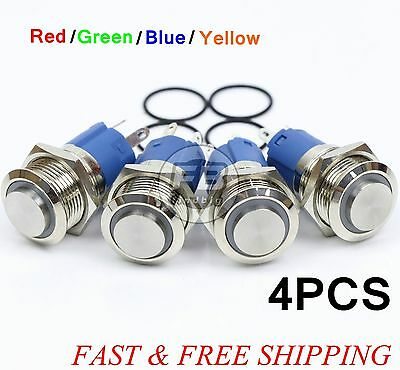 AngelEye Led 16mm 12V Stainless Steel Round Momentary Push Button Switch 4Colors