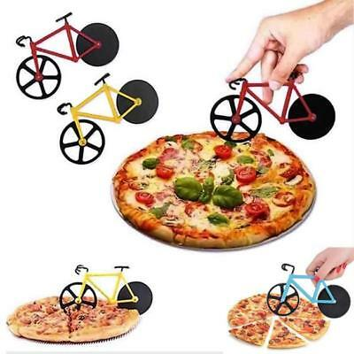 Bicycle Pizza Cutter Slicer Stainless Steel Novelty Retro Non Stick Wheels FW