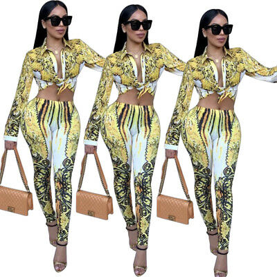 Womens long sleeves print bodycon clubwear party casual jumpsuit playsuit 2 pc