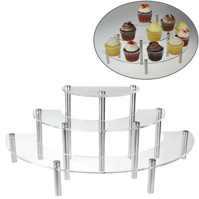 Table Top Display Risers Acrylic Shelves Stands 3 Tier Retail Spice Jar Rack New