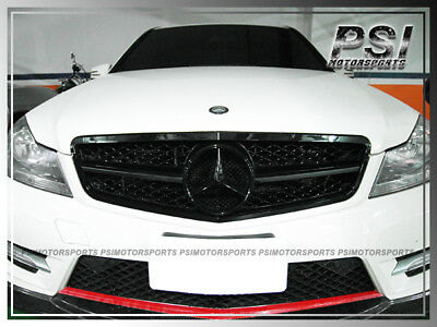 1 Fin Big Mesh Front Gloss Black Grille Grill For M-Benz W204 C250 C300 2012+