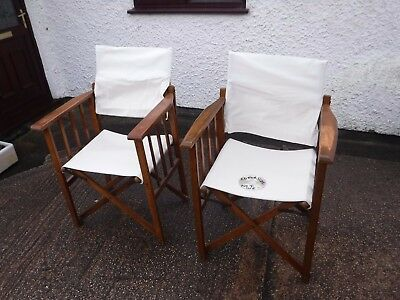 Vintage Pair Of Folding Wooden Directors Chairs. Geebro Products.