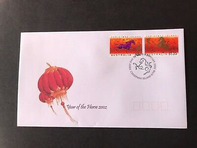 Christmas Island 2002 Year Of The Horse First Day Cover 2 Stamps