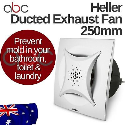 Square Ducted Ceiling Exhaust Fan Silver 250mm Bathroom 50W Motor HEFM250