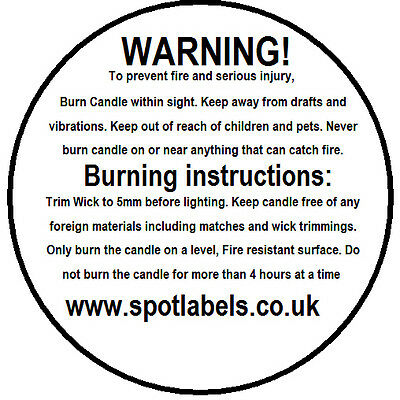 Candle Making WARNING SAFETY Burning Labels. 43mm Width, PERSONALISED FREE