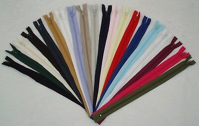 """8"""" (20cm) CLOSED END NYLON ZIP - VARIETY OF COLOURS - PLEASE SELECT"""