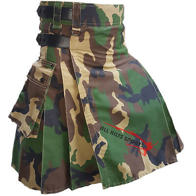 New Modern Camo Leather Straps Utility Kilts